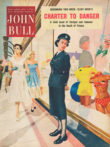 June 1954 John Bull Vintage Magazine Ad Police woman looking at bikini