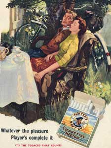 1954 Player's Cigarettes vintage ad - couple enjoying smoke