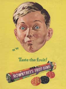 1955 Rowntree's Fruit Gums Boy Sucking Sweet