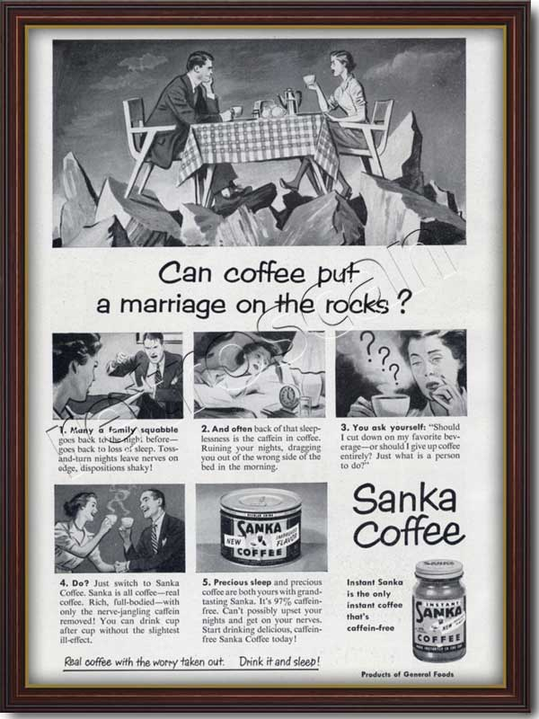 Sanka Caffeine Free Coffee  'Marriage' - framed preview