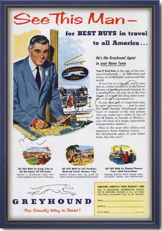 1952 vintage Greyhound Bus advert