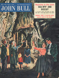 1955 August John Bull Vintage Magazine couple exploring a cave