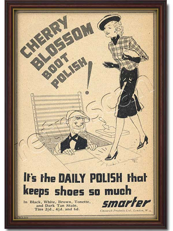 vintage 1939 Cherry Blossom Boot Polish  advert