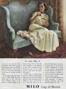 1952 Milo Health Drink Lady on sofa