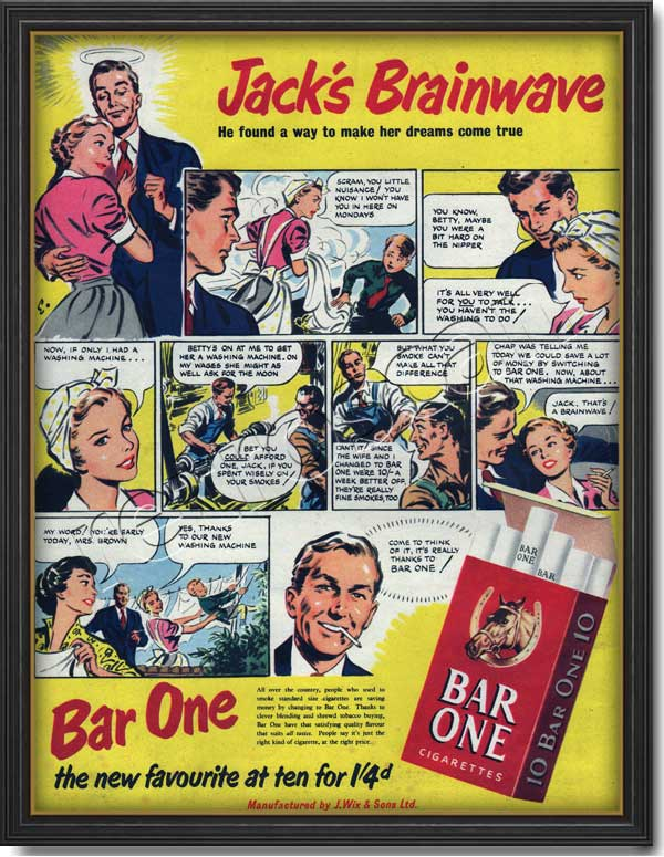 1952 Bar One Cigarettes  - framed preview
