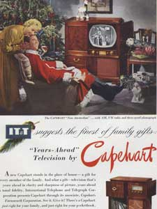 1950 ITT Capehart Cabinet Television (Christmas Couple)  - vintage ad