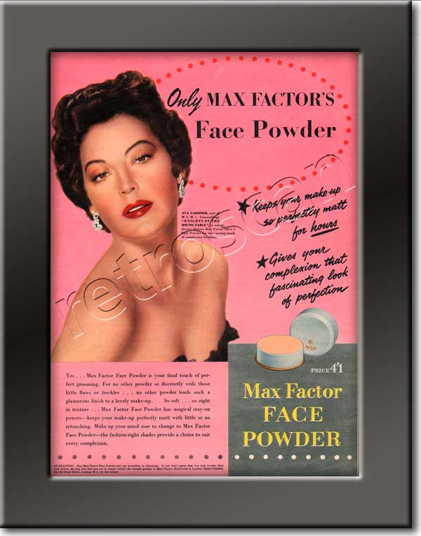 1955 Max Factor Ava Gardner - framed preview
