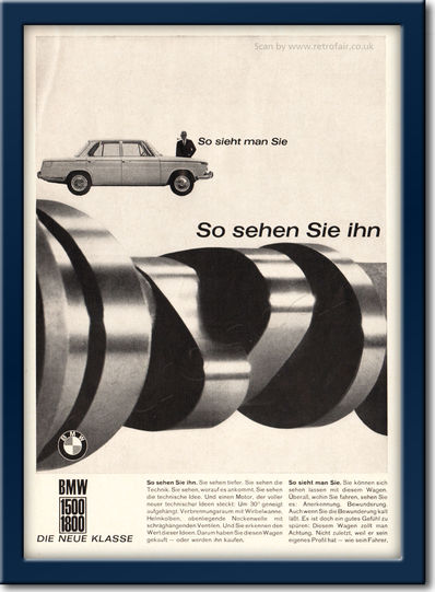 1962 BMW 1500 / 1800 - framed preview vintage ad