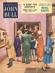 1955 February John Bull Vintage Magazine looking at pictures in art gallery