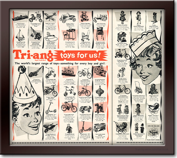 1954 Tri-ang Toys - framed preview vintage ad