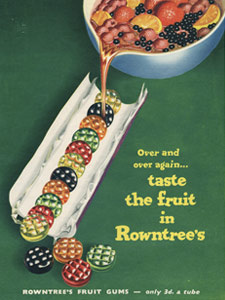 1954 Fruit Gums open tube - vintage ad