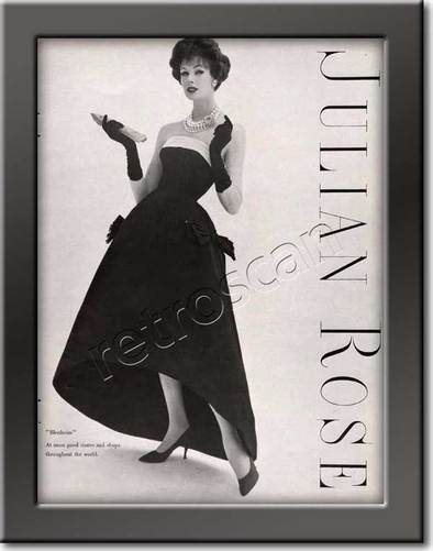 1958 Julian Rose Couture - framed preview vintage ad