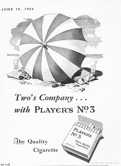 1954 Player's No. 3 Cigarettes - unframed vintage ad