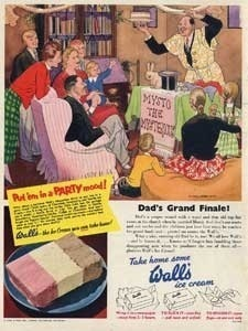 1953 Wall's Ice Cream party - vintage ad