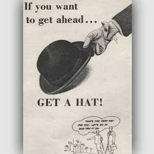 vintage bowler hat advert