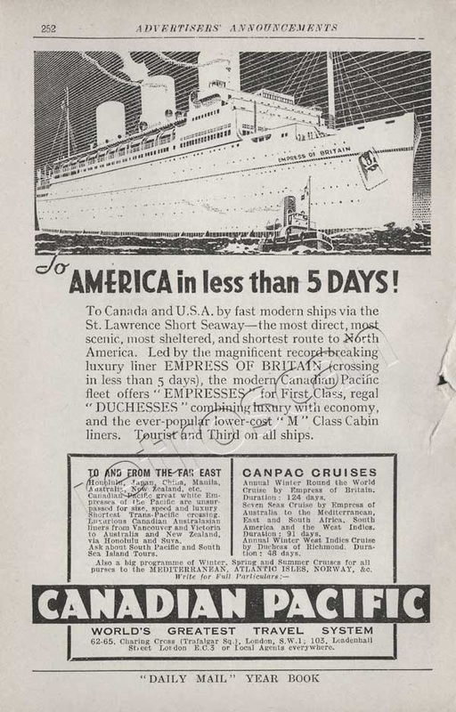 1935 Canadian Pacific  vintage ad