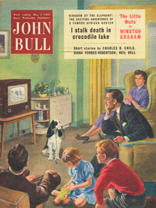 1955 May John Bull Vintage Magazine family watching TV