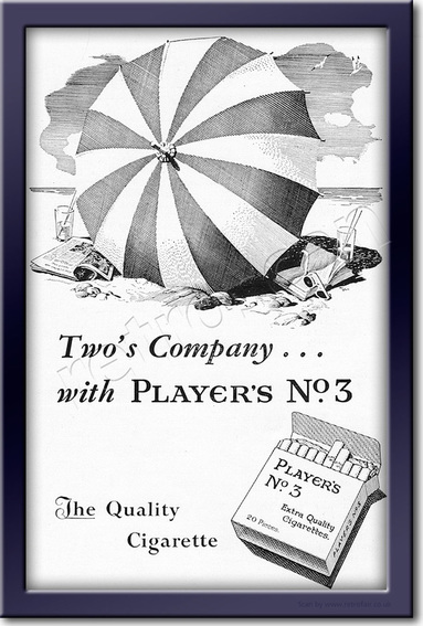 1954 Player's No. 3 Cigarettes - framed preview vintage ad