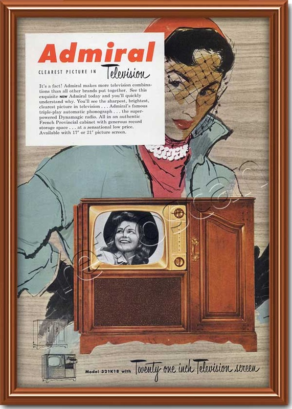 1951 vintage Admiral TV advert