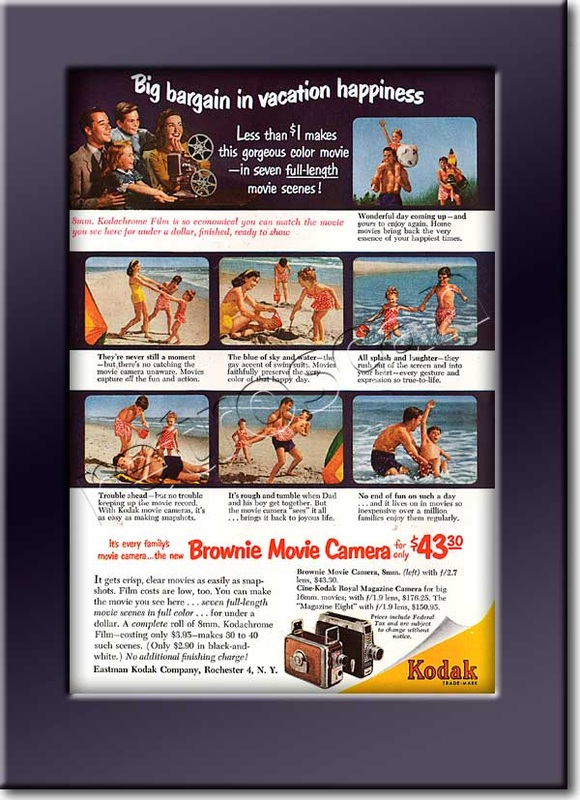 1952 vintage Kodak Brownie Movie Camera ad
