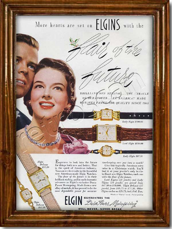 vintage 1950 Elgin Watches  advert