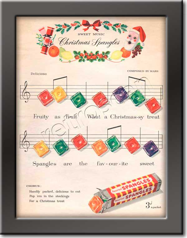 1953 Spangles Christmas  - framed preview vintage ad