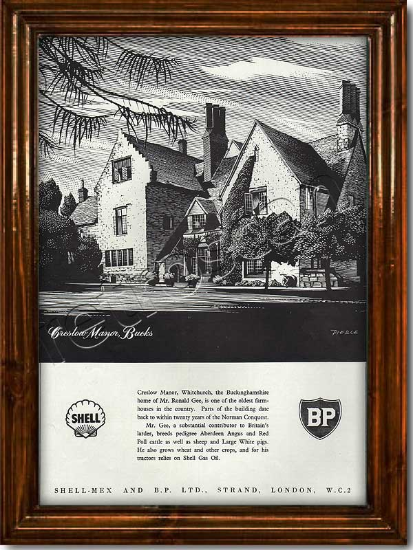 1952 vintage Shell-Mex BP Creslow Manor advert
