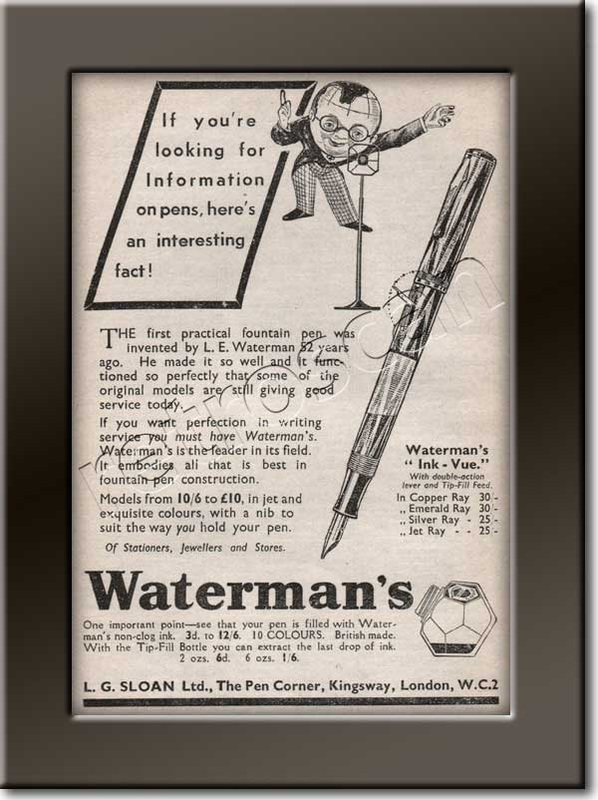 1937 Warterman's Fountain Pens advert