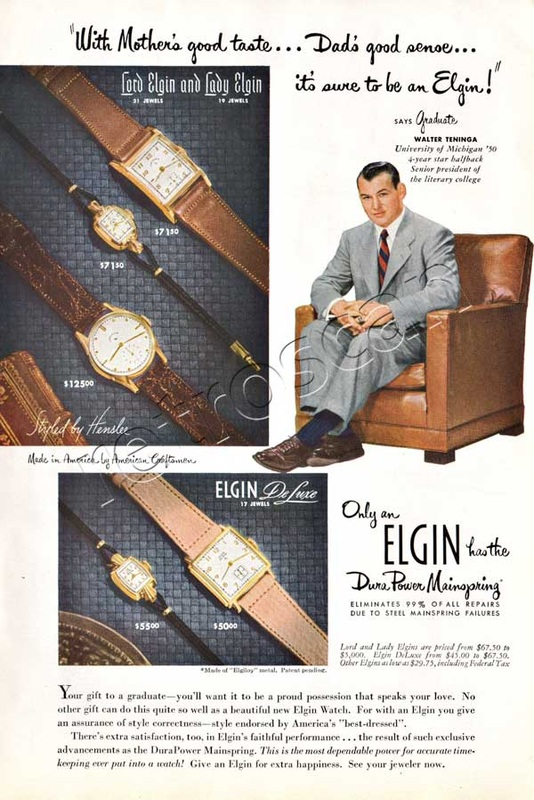 1950 Elgin Watches - unframed vintage ad