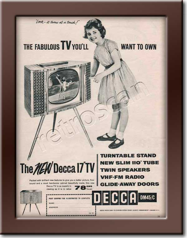 1959 Decca Televisions - framed preview retro advert