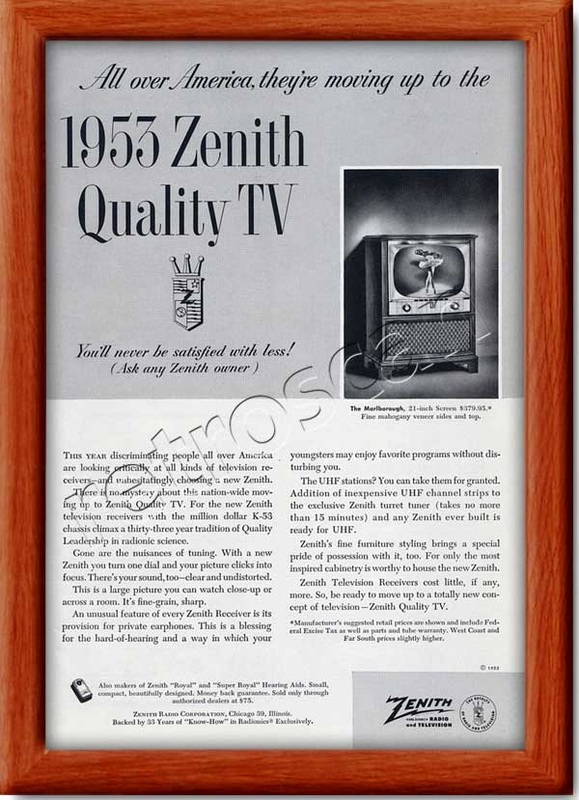 1952 vintage Zenith TV  advert