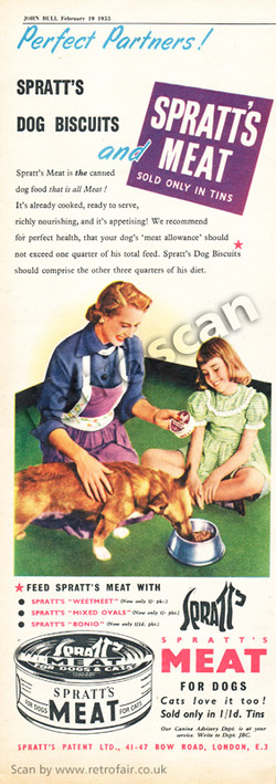 1955 Spratt's Dog Meat - unframed vintage ad