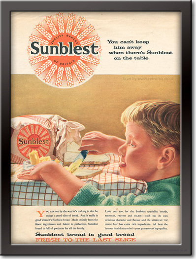 1958 Sunblest Bread - unframed vintage ad