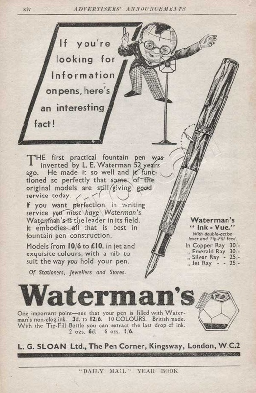 1937 Warterman's Fountain Pens  vintage ad