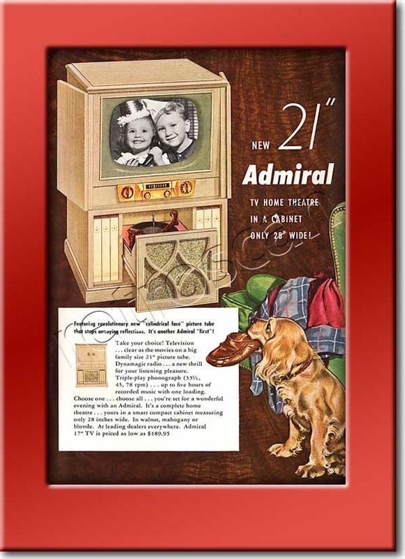 1952 Admiral TV  - framed preview - vintage ad