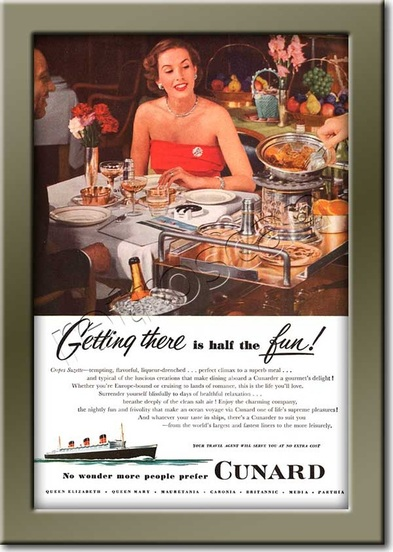1952 Cunard Line  retro advert
