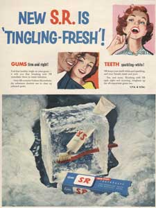 1954 Gibbs S.R. Toothpaste 'Tingling' - vintage ad