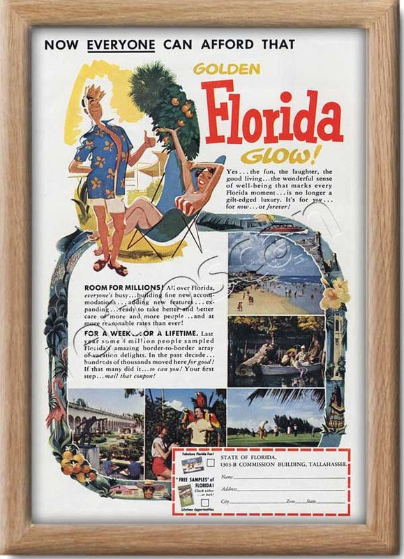 1953 vintage Florida State advert