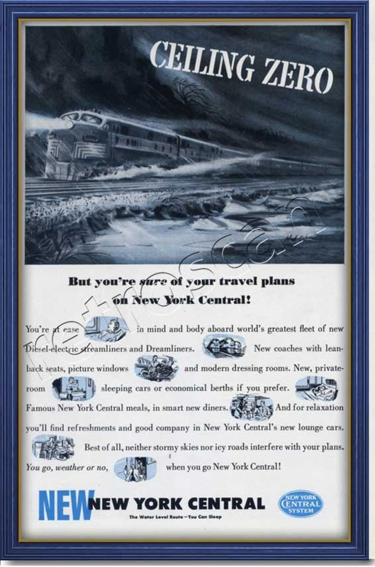 1950 vintage New York Central advert
