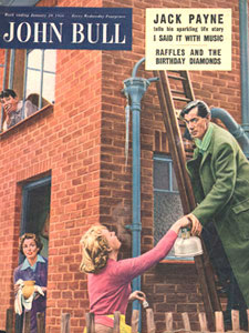 1955 January John Bull Vintage Magazine man on ladder fixing frozen pipes