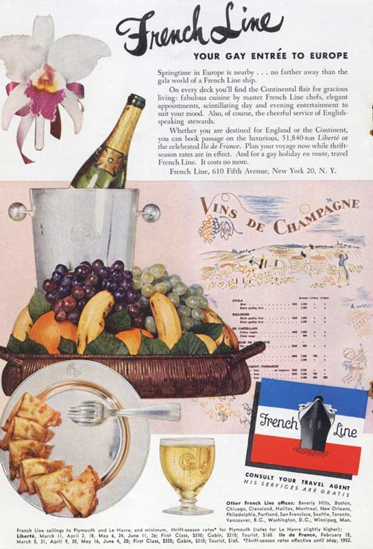 1952 French Line Cruises champagne and fruit  - unframed
