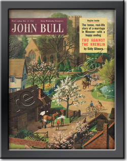 1955 May John Bull Vintage Magazine village riding stables  - framed example