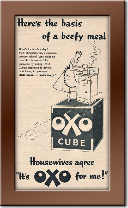 1955 vintage OXO cubes Ad