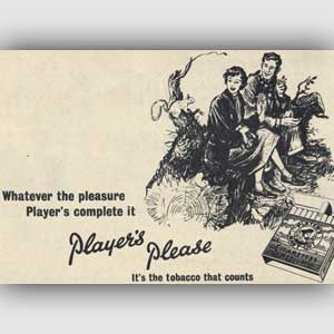 Vintage 1953 Player's cigarettes ad