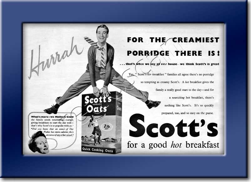 1954 Scott's Porage Oats vintage ad
