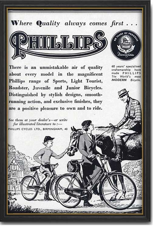 1952 vintage Phillips Bicycles ad