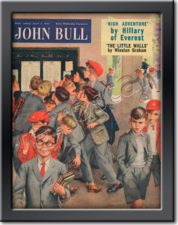 955 April John Bull Vintage MagazineBoy's  School Exam Results  - framed example