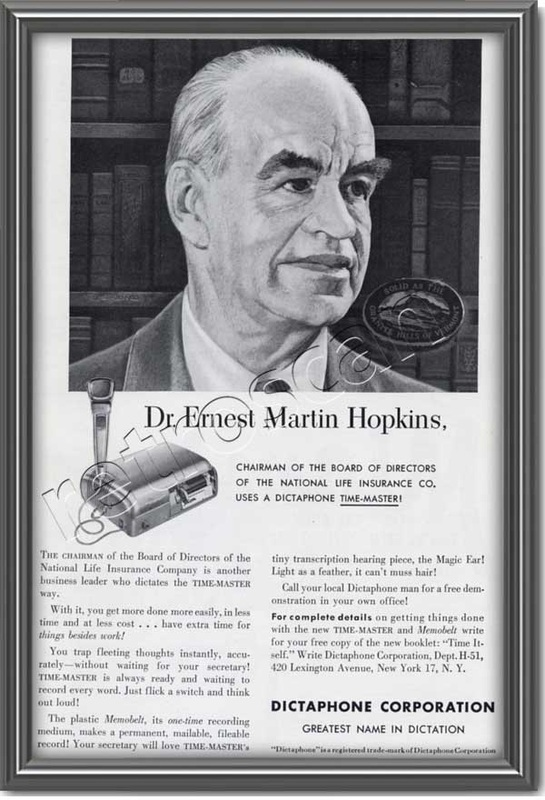 1951 vintage Dictaphone Dr. Ernest Martin Hopkins advert