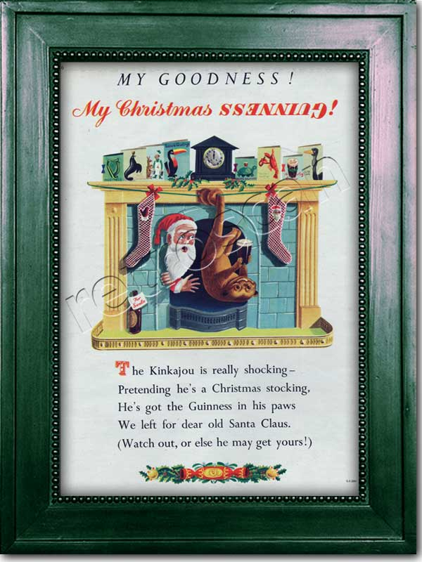 1952 Guinness Christmas Kinkajou - framed preview