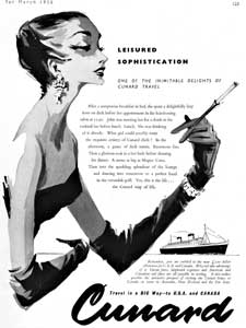 1958 Cunard Lines - Dressed for Diner - vintage